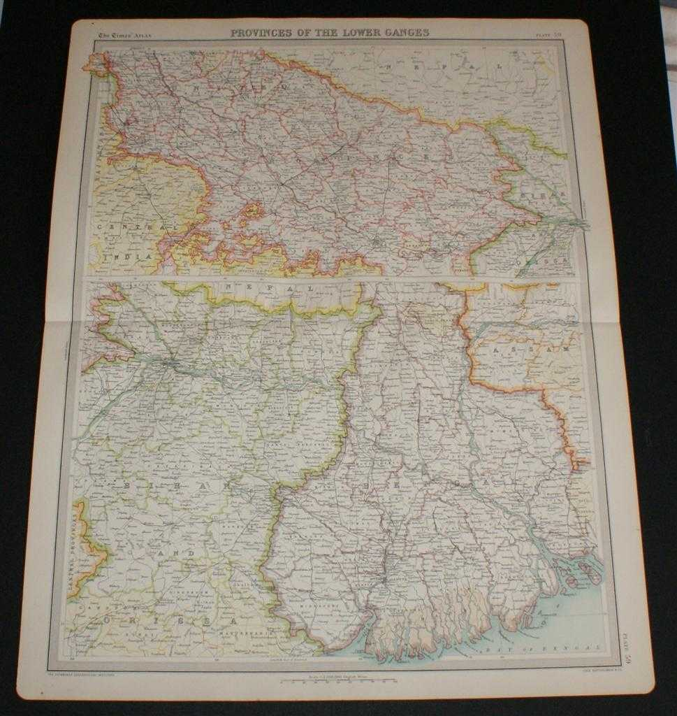 """Map of India """"Provinces of the Lower Ganges"""" or """"The Ganges Valley from Delhi to Calcutta"""" from the 1920 Times Survey Atlas (Plate 59) including Bihar and Orissa, Bengal, United Provinces, Chota Nagpur, Allahabad, Benares, Lucknow,and Agra, The Times and J. G. Bartholomew"""