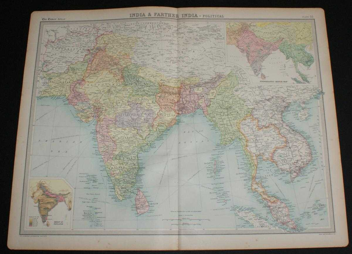 """Map of """"India & Farther India"""" from the 1920 Times Survey Atlas (Plate 55) covering modern day India, Pakistan, Afghanistan, Nepal, Tibet, Thailand, Bangladesh, Myanmar, Cambodia, Laos, Vietnam, Sri Lanka and Malaysia, The Times and J. G. Bartholomew"""