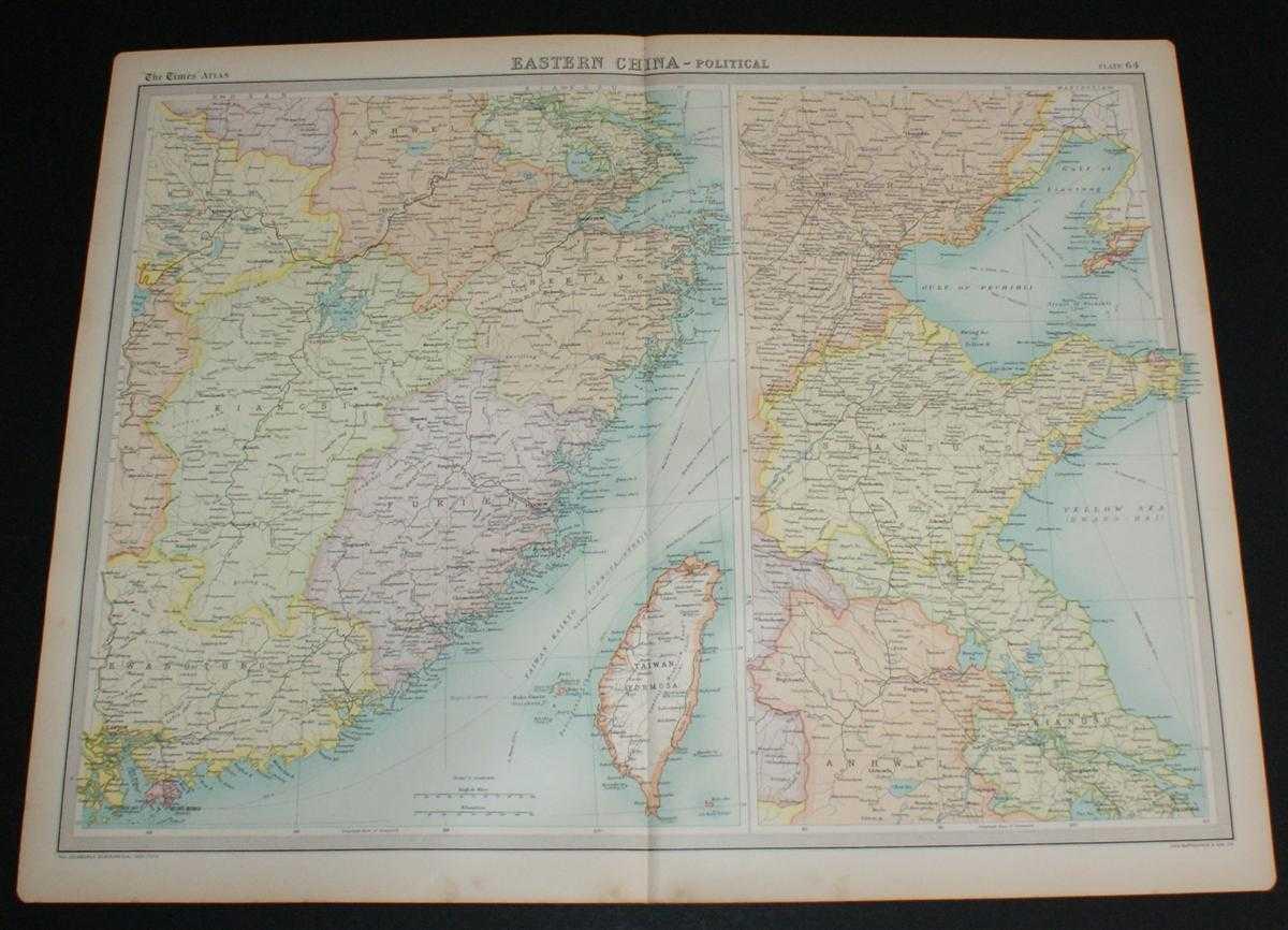 Map of Eastern China from the 1920 Times Survey Atlas (Plate 64) including Hankow, Anking, Nanking, Hangchow, Shanghai, Ningpo, Foochow, Canton, Hong Kong, Peking, Tientsin, Tsinan, Amoy and Taiwan (Formosa), The Times and J. G. Bartholomew