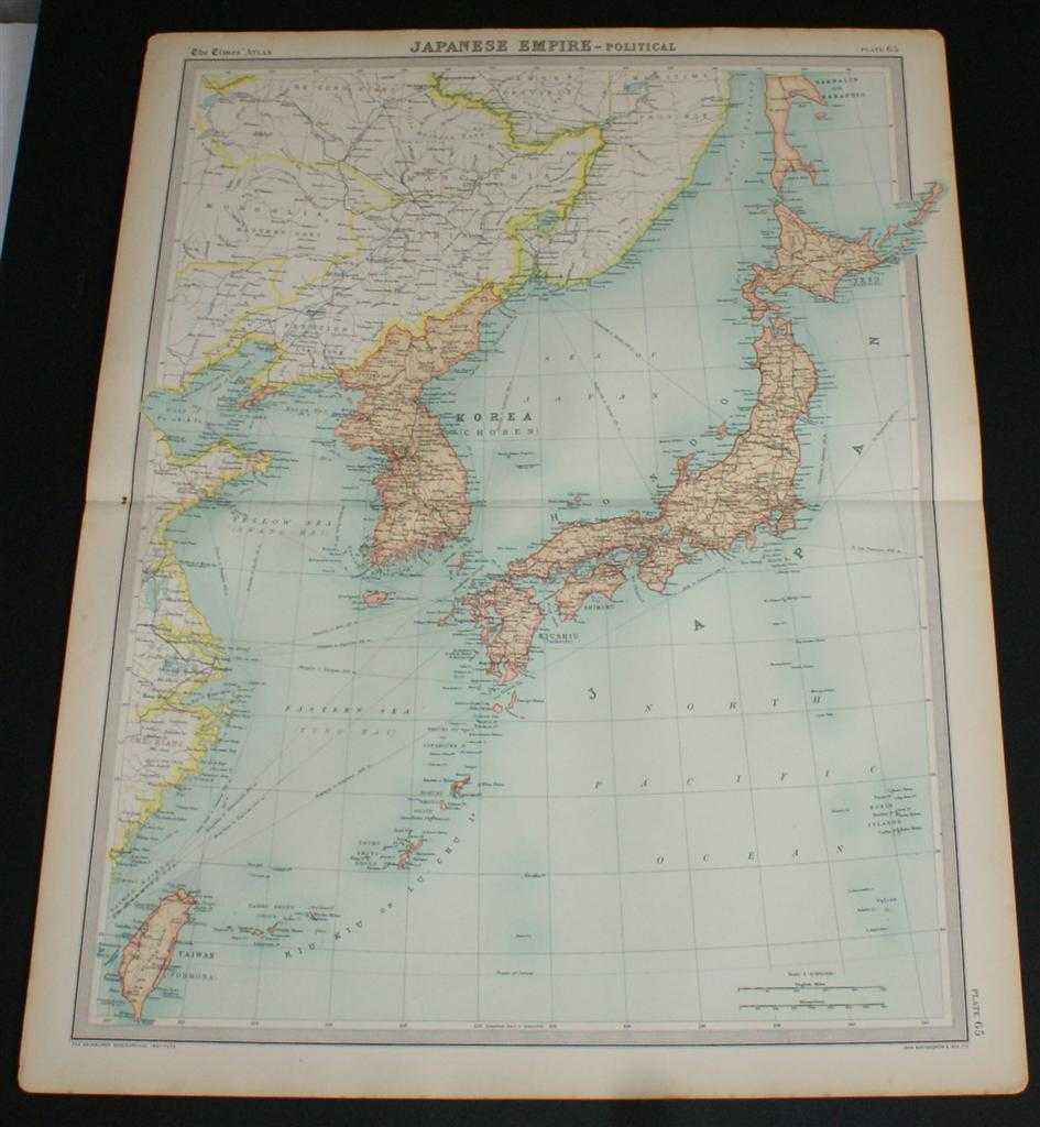 Map of the Japanese Empire from the 1920 Times Survey Atlas (Plate 65) including Japan, Korea and Taiwan, The Times and J. G. Bartholomew