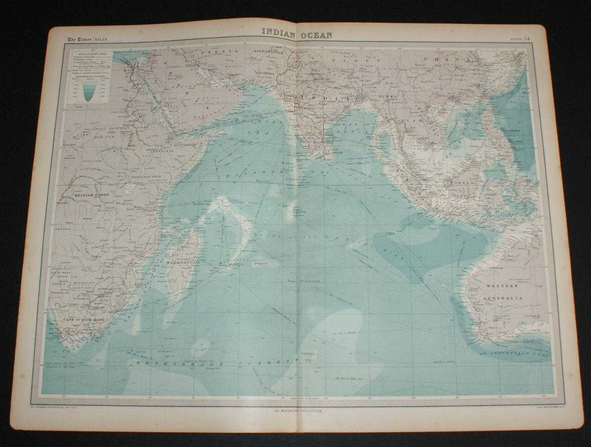 Image for Map of the Indian Ocean from the 1920 Times Survey Atlas (Plate 54) including currents and shipping routes