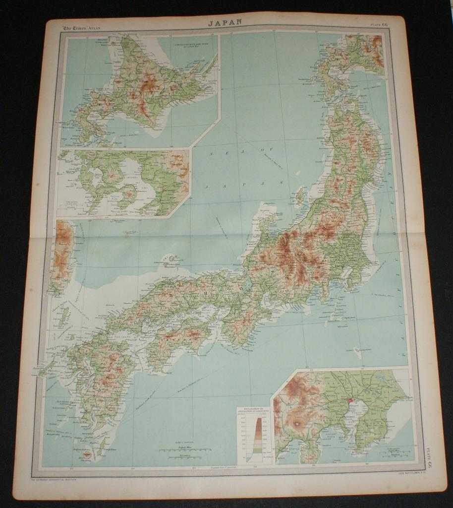 Map of Japan from the 1920 Times Survey Atlas (Plate 66) with inset maps of Tokyo and Nagasaki and environs, The Times and J. G. Bartholomew