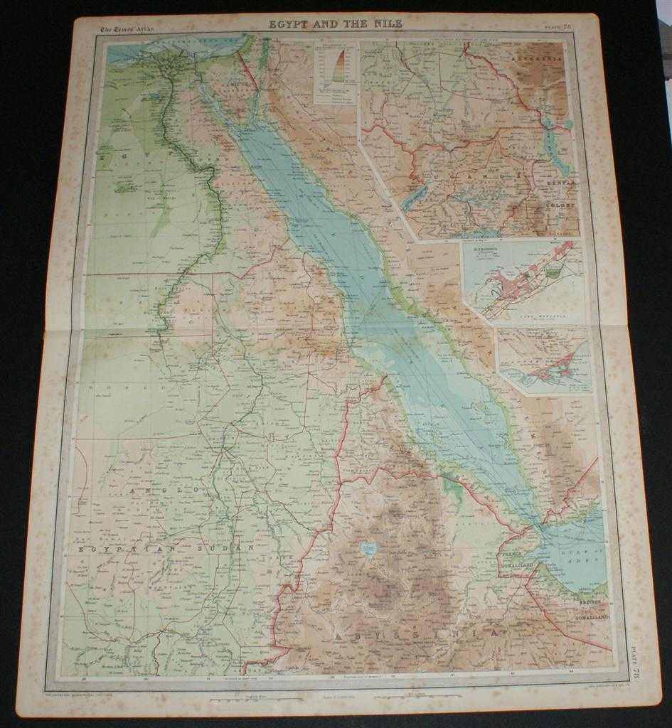 """Image for Map of """"Egypt and the Nile"""" and the Red Sea from the 1920 Times Survey Atlas (Plate 78)"""