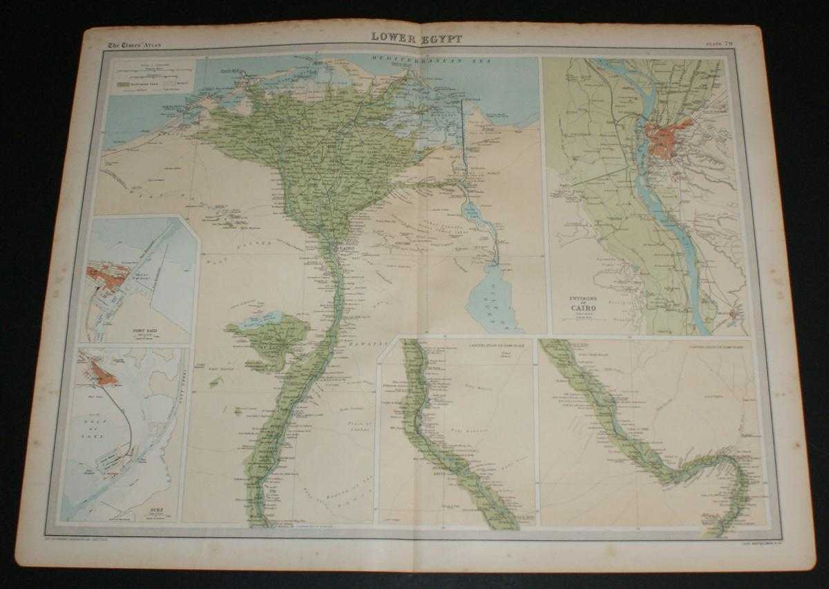 """Image for Map of """"Lower Egypt"""" from the 1920 Times Survey Atlas (Plate 79) including Suez Canal and plans of Cairo, Port Said and Suez and environs"""