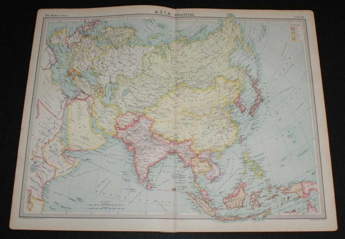 """Map of """"Asia"""" from the 1920 Times Survey Atlas (Plate 49) including Siberia, Mongolia, Tibet, China, India, Afghanistan, Persia, Arabia, Siam, French Indo-China, Japanese Empire, Philippine Islands, Sumatra, Borneo, Europe, etc., The Times and J. G. Bartholomew"""