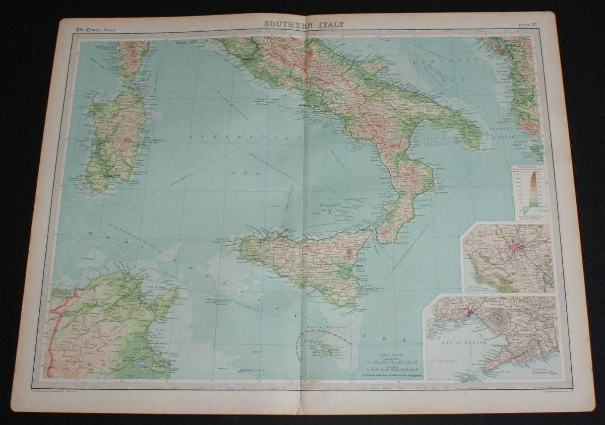 """Image for Map of """"Southern Italy"""" from 1920 Times Atlas (Plate 37) including Sardinia, Sicily, Malta and Tunis"""