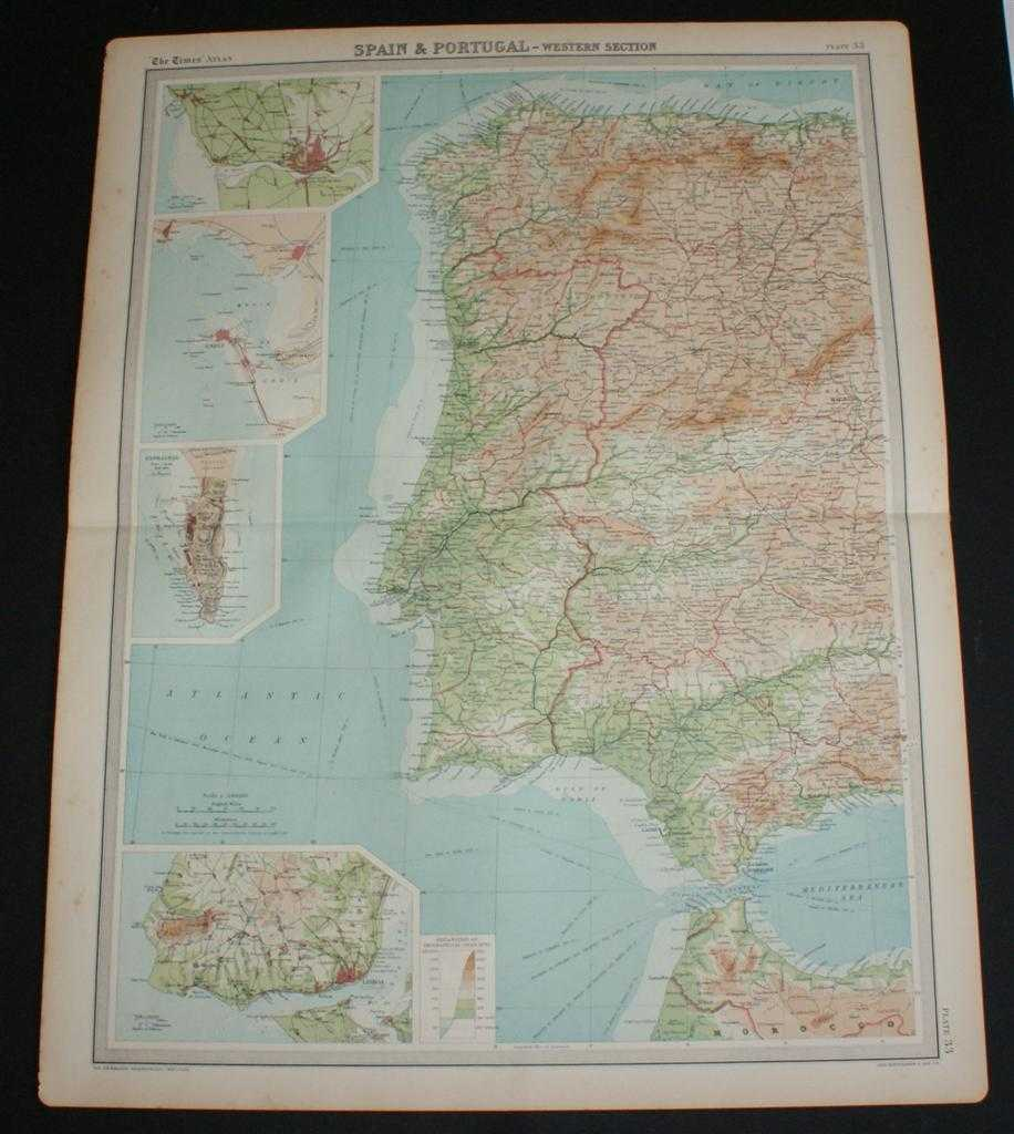 """Image for Map of Portugal and Western Spain from 1920 Times Atlas (Plate 33 """"Spain & Portugal - Western Section"""") including inset plans of Oporto, Cadiz, Gibraltar and Lisbon and environs"""