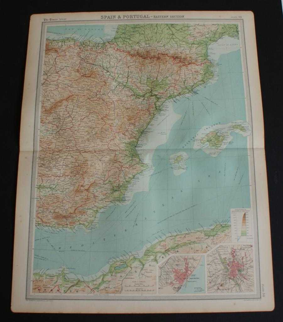 """Image for Map of Eastern Spain including the Pyrenees, Andorra and the Balearic Islands from 1920 Times Atlas (Plate 34 """"Spain & Portugal - Eastern Section"""") with inset plans of Barcelona and Madrid"""