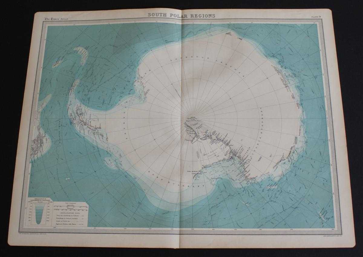 "Map of ""South Polar Regions"" or Antarctica from 1920 Times Atlas (Plate 9), The Times and J. G. Bartholomew"