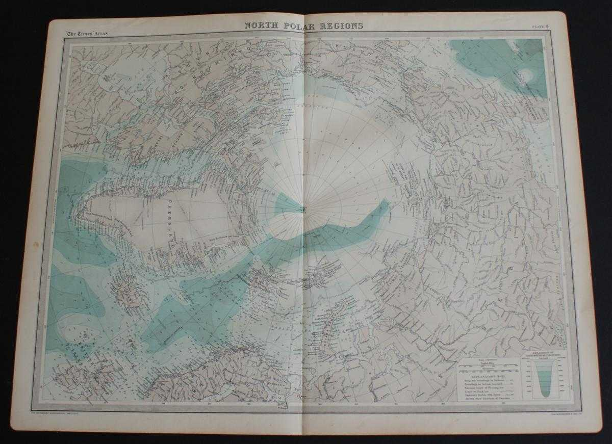 """Image for Map of """"North Polar Regions"""" or the Arctic from 1920 Times Atlas (Plate 8)"""