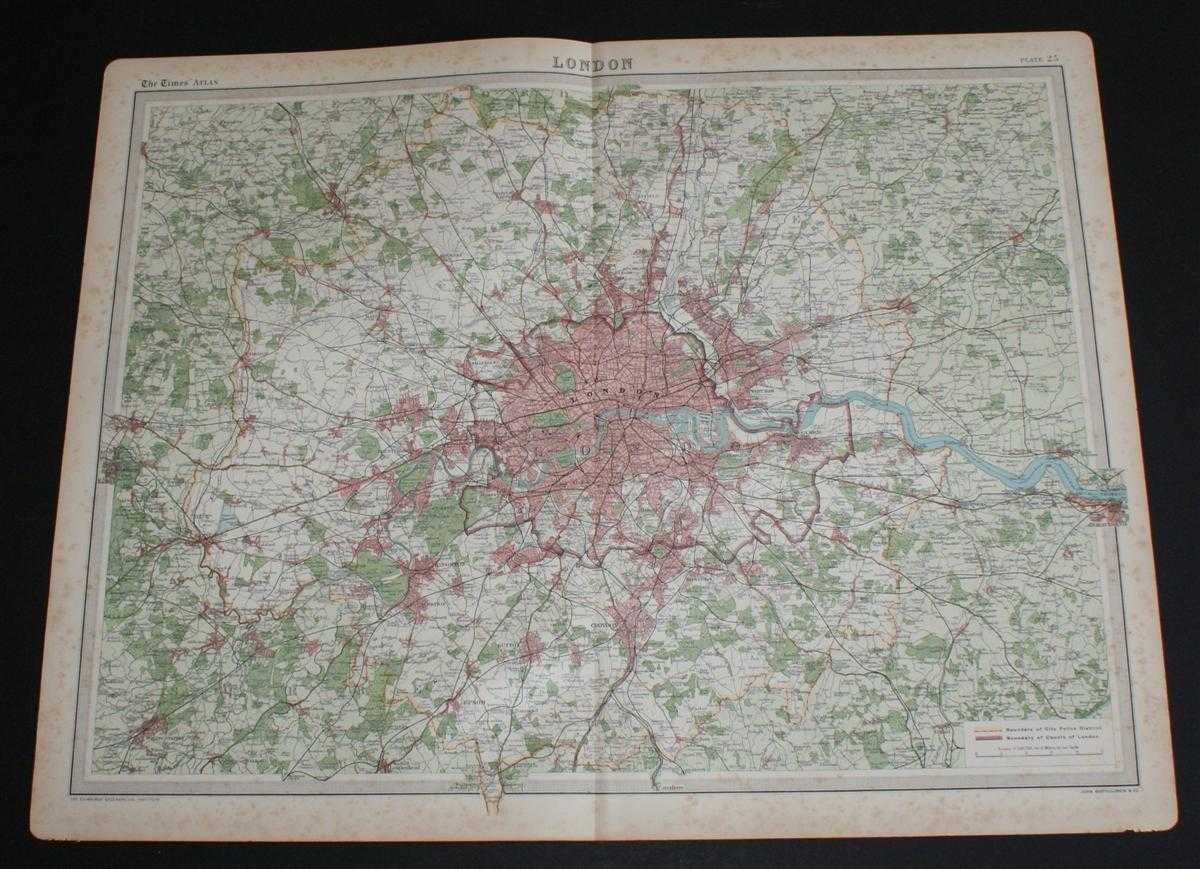 Map of London from the 1920 Times Atlas (Plate 25), The Times and J. G. Bartholomew