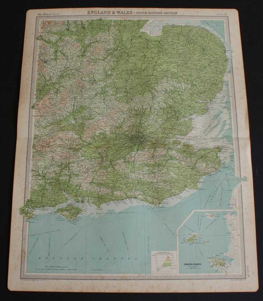 """Image for Map of South East England and East Midlands from the 1920 Times Atlas (Plate 18 """"England & Wales - South-Eastern Section"""") extending as far north as Nottingham and Newark only and including the Channel Islands"""