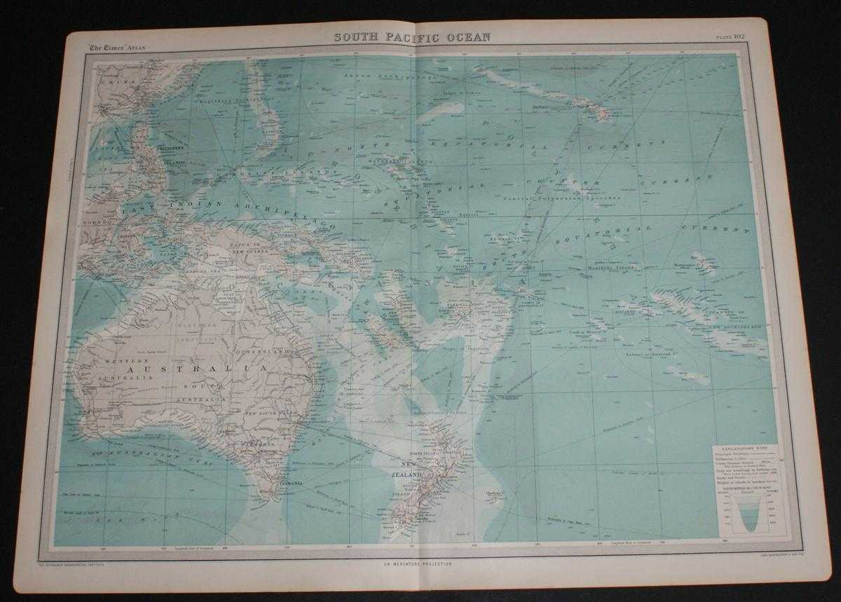 Image for Map of South Pacific Ocean from the 1920 Times Atlas (Plate 102) including Australia, Hawaii, Papua New Guinea, Philippines, New Zealand, Fiji, Tonga, New Hebrides, Caroline Islands, East Indian Archipelago, Marquesas Islands, etc.
