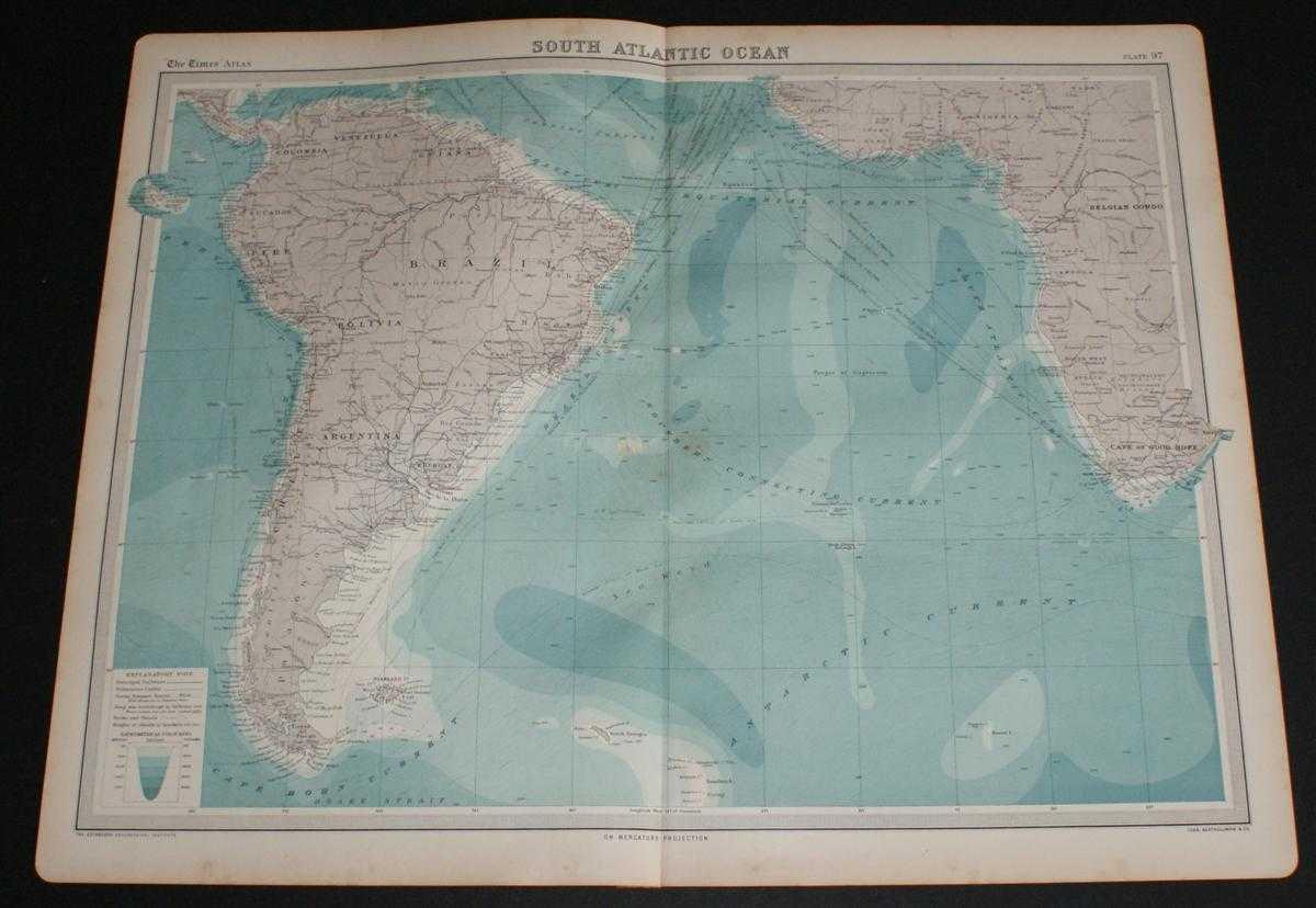 Image for Map of South Atlantic Ocean from the 1920 Times Atlas (Plate 97) including South America, Brazil, Argentina, Venezuela, Galapagos Islands, Falkland Islands, South Georgia, Belgian Congo, Cape of Good Hope, Cape Horn, etc.