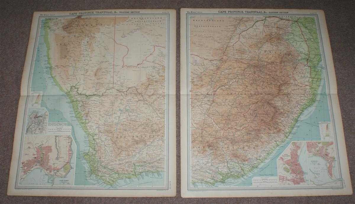 Image for Map of South Africa from 1920 Times Atlas on two sheets (Plates 72 and 73) including Cape Province, Orange Free State, Transvaal, British Bechuanaland, Basutoland (Lesotho) and Swaziland (Eswatini)