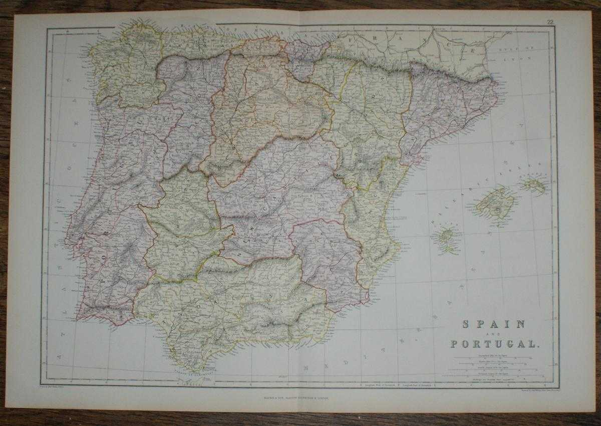 1884 Blackie's Map of Spain and Portugal, W. G. Blackie