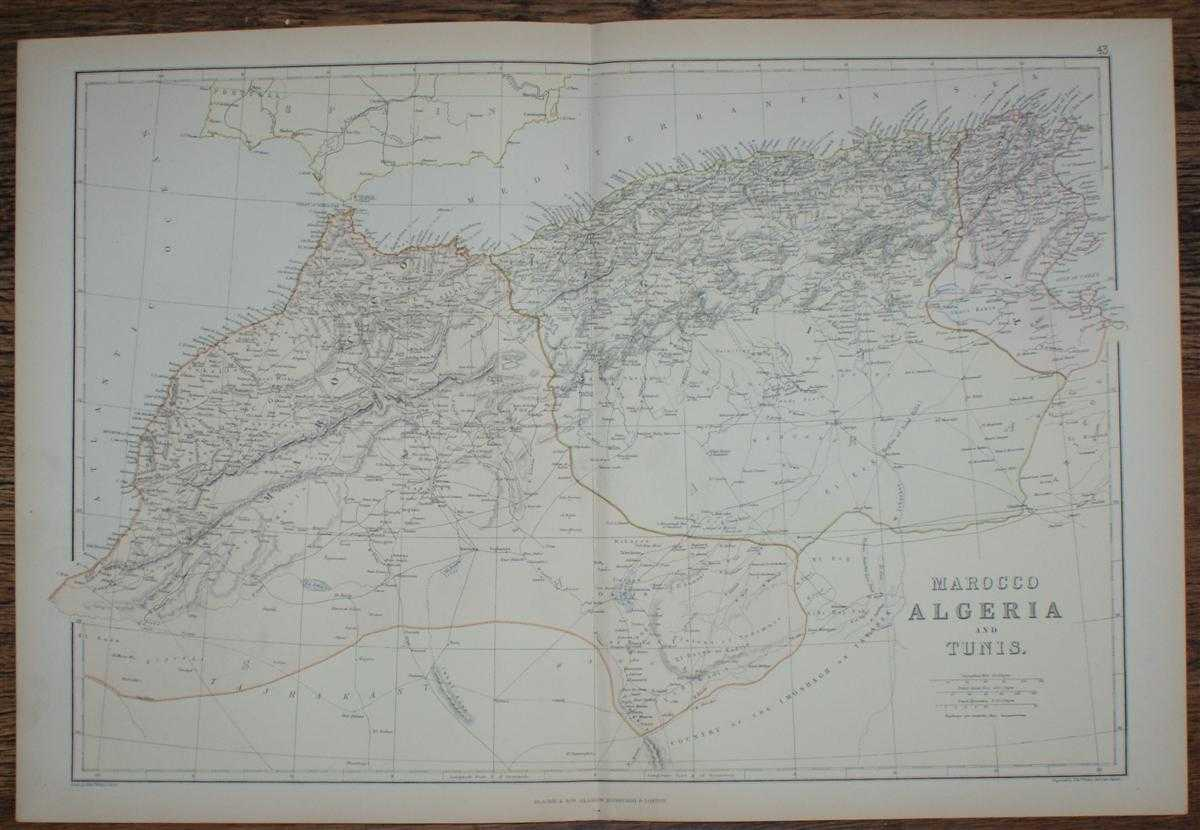 Image for 1884 Blackie's Map of Marocco, Algeria and Tunis