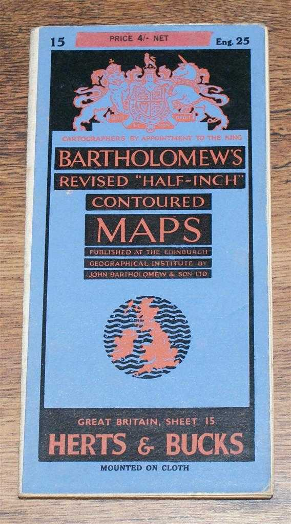 "Image for Hertfordshire and Buckinghamshire - Bartholomew's Revised ""Half-Inch"" Contoured Maps, Great Britain Sheet 15 (Herts and Bucks)"