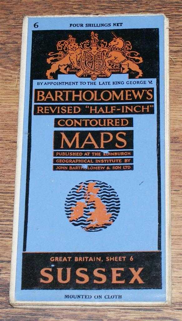 "Sussex - Bartholomew's Revised ""Half-Inch"" Contoured Maps, Great Britain Sheet 6, John Bartholomew & Son Ltd."