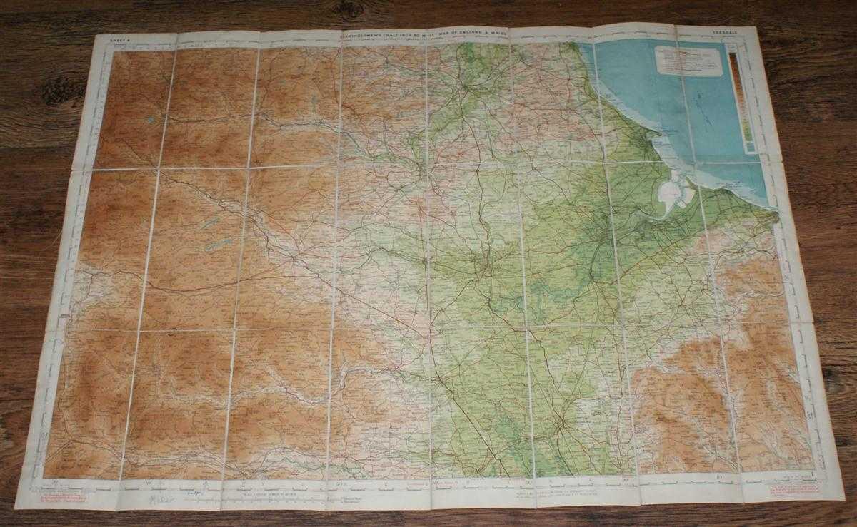 """Teesdale - Bartholomew's Revised """"Half-Inch"""" Contoured Map of England & Wales, Sheet 4, John Bartholomew & Son Ltd."""