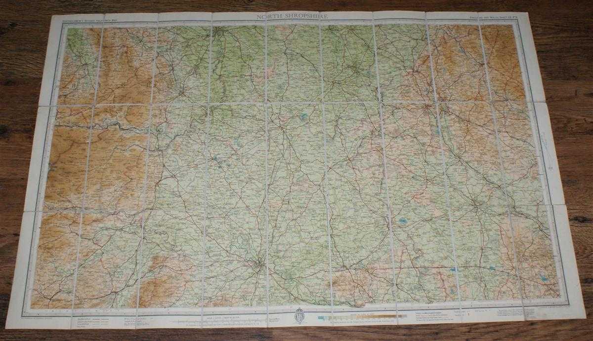 """North Shropshire - Bartholomew's Revised """"Half-Inch"""" Contoured Maps of England and Wales, Sheet 12 (F3), John Bartholomew & Son Ltd."""