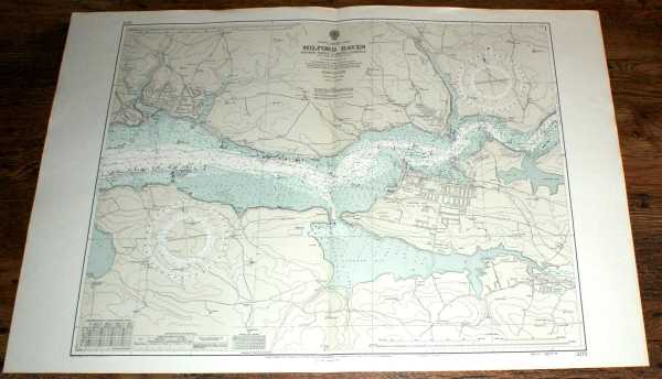 Nautical Chart No. 3275. Wales - South Coast, Milford Haven: Popton Point to River Cleddau from Admiralty Surveys to 1959 under the Superintendence of Commodore K St. B Collins with subsequent corrections to 1973. Scale 1:12,000, Admiralty