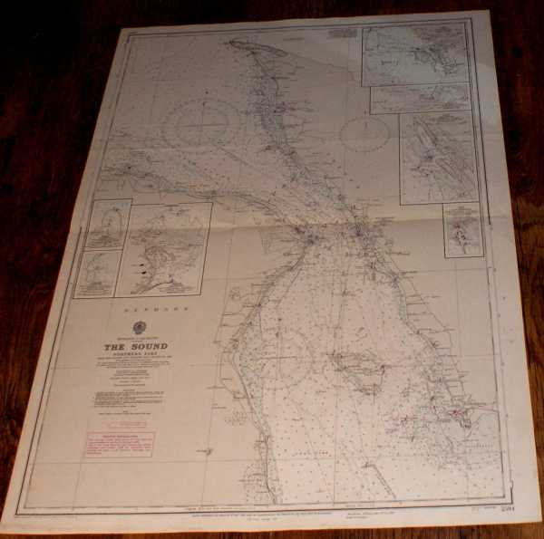 Nautical Chart No. 2594. Entrance to the Baltic: The Sound - Northern Part. From The Danish and Swedish Government Charts to 1948 with additions and corrections to 1970. Small corrections to 1973. Scale 1:60,000., Admiralty