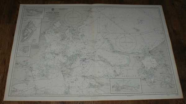 Nautical Chart No. 2120. Denmark: Entrance to the Baltic - Samso Baelt including Aarhus Bugt and Isefjord. From The Danish Government Charts to 1962 with additions to 1970. Small corrections to 1973. Scale 1:150,000. Inset maps of Horsens (Scale 1:10,000), Aarhus (Scale 1:15,000), Hundested (Scale 1:7,500) and Holbaek (Scale 1:6,000)., Admiralty