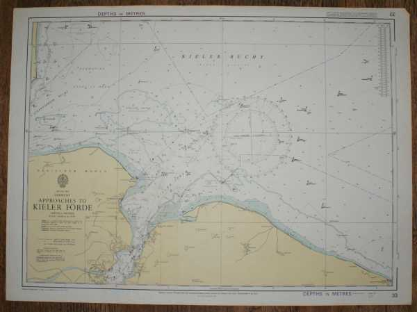 ADMIRALTY - Nautical Chart No. 33. Baltic Sea, Germany, Approaches to Kieler Forde. Scale 1:60,000