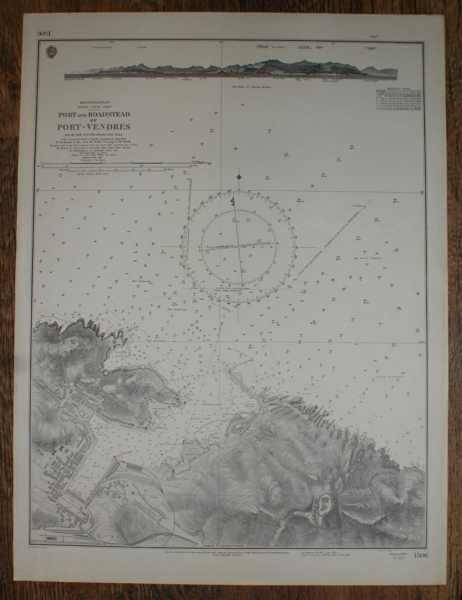 Nautical Chart No. 1506 Mediterranean, France - South Coast, Port Vendres and Roadstead. Scale 1:5,000, Admiralty