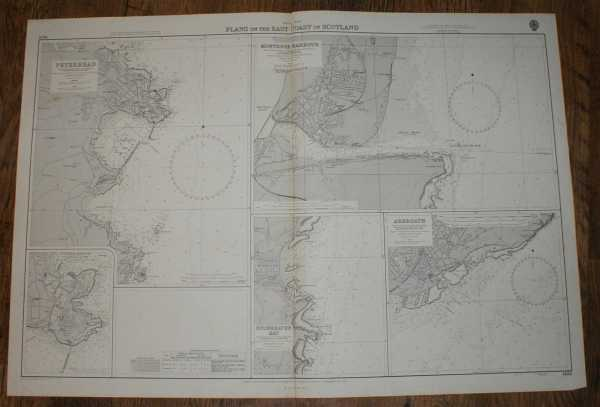 Nautical Chart No. 1438, British Isles, Plans on the East Coast of Scotland: Peterhead, Peterhead Harbours, Montrose, Arbroath, Stonehaven Bay. Various Scales, Admiralty