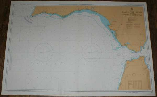 Nautical Chart No. 92 Cabo de Sao Vicente to the Strait of Gibraltar, Admiralty