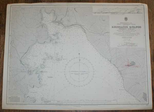 Nautical Chart No. 221 Mediterranean Sea, Greece - Korinthiakos Kolpos, Krissaios Kolpos (Ormos Iteas), Admiralty