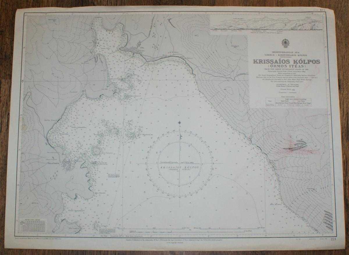 Nautical Chart No. 221 Mediterranean Sea, Greece - Korinthiakos Kolpos, Krissaios Kolpos (Ormos Iteas), Admiralty