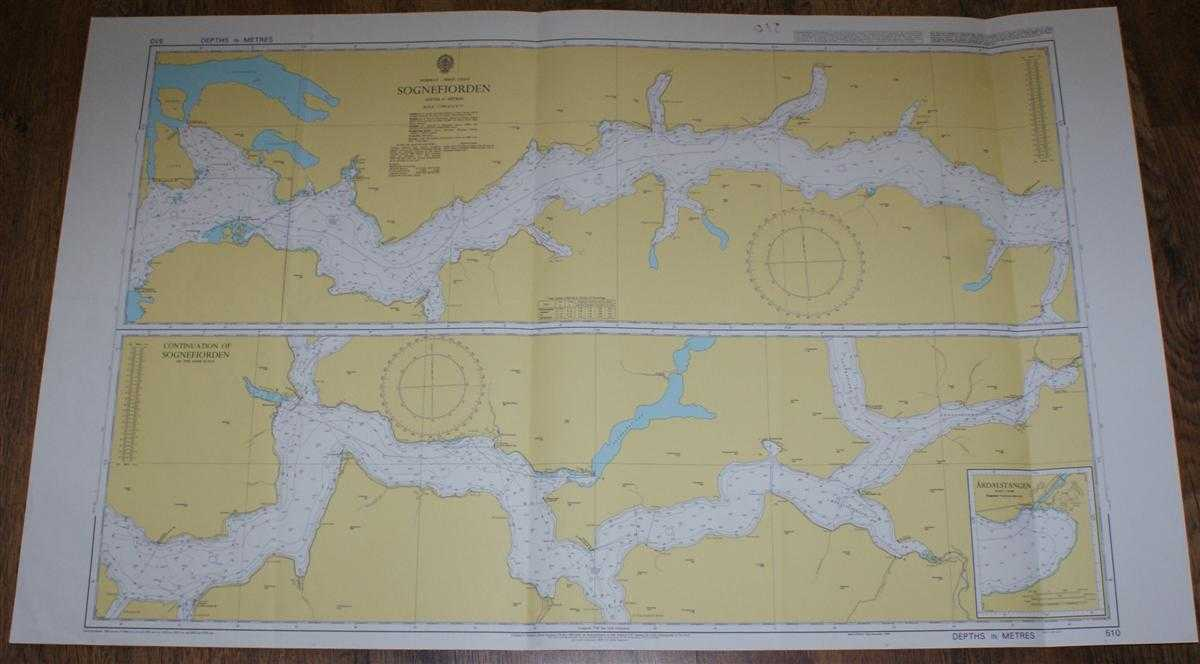 Nautical Chart No. 510 Norway - West Coast, Sognefjorden, Admiralty
