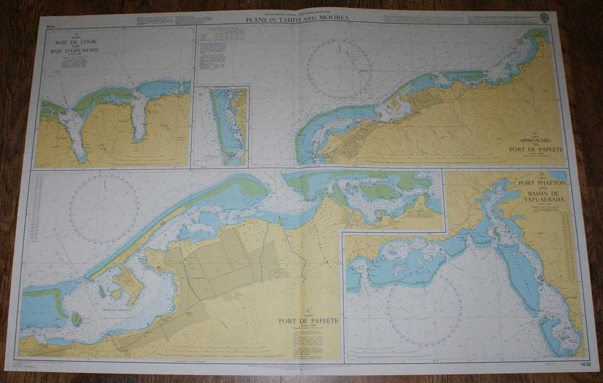 Nautical Chart No. 1436 South Pacific Ocean - Polynesie Francaise, Plans in Tahiti and Moorea, Admiralty