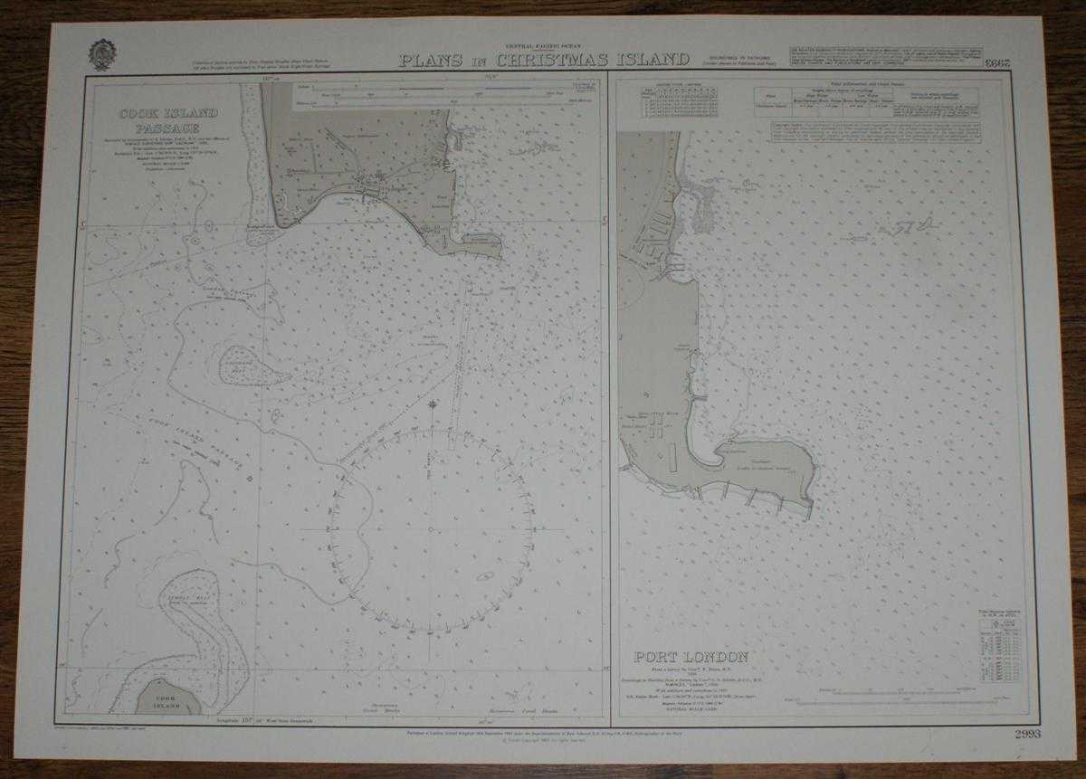 Nautical Chart No. 2993 Central Pacific Ocean - Plans in Christmas Island, Admiralty