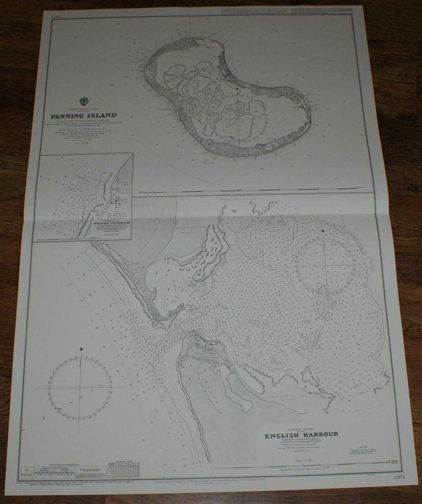 Nautical Chart No. 2971 North Pacific Ocean, Fanning Island and English Harbour, Admiralty