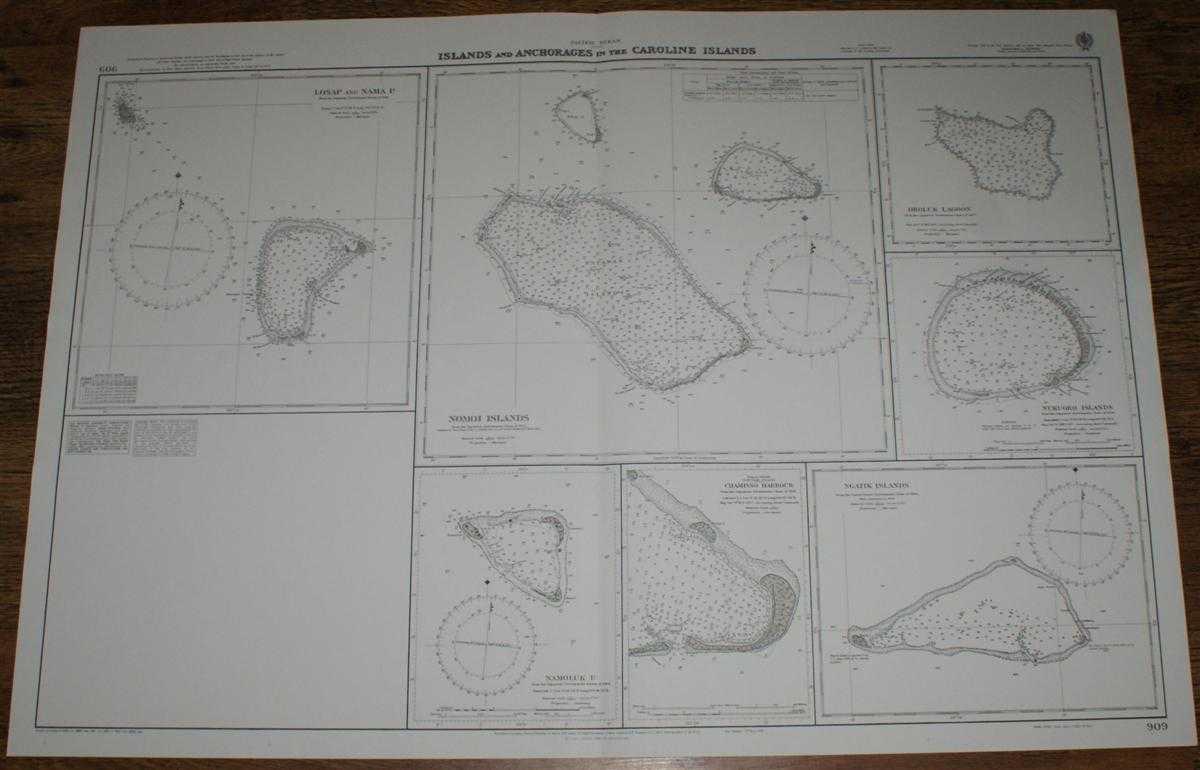 Image for Nautical Chart No. 909 Pacific Ocean - Islands and Anchorages in the Caroline Islands