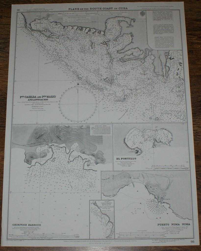 Image for Nautical Chart No. 98 Plans on the South Coast of Cuba including Puerto Casilda