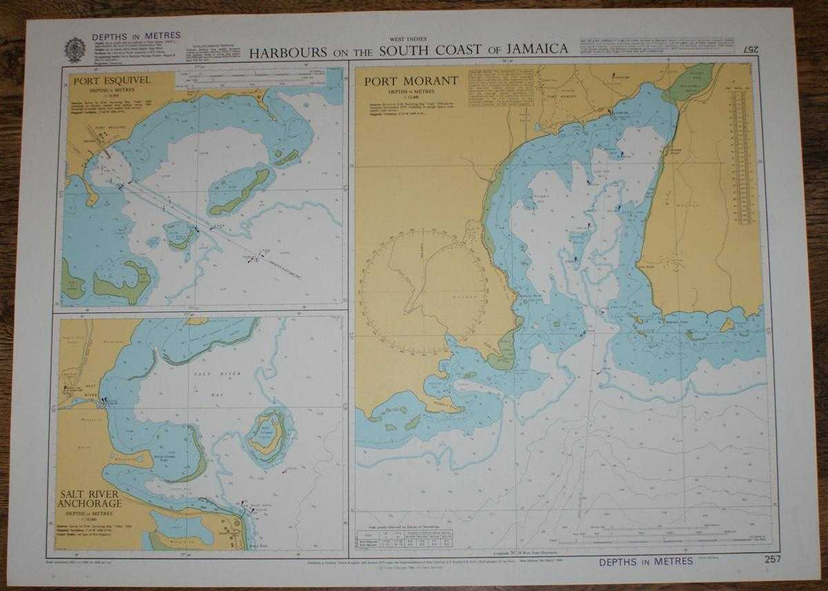 Nautical Chart No. 257 West Indies - Harbours on the South Coast of Jamaica, Admiralty