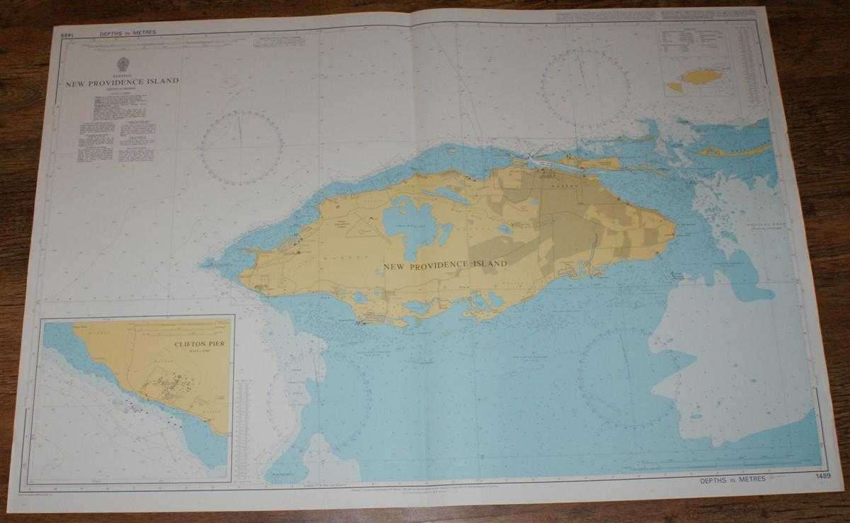 Nautical Chart No. 1489 Bahamas - New Providence Island and Clifton Pier, Admiralty