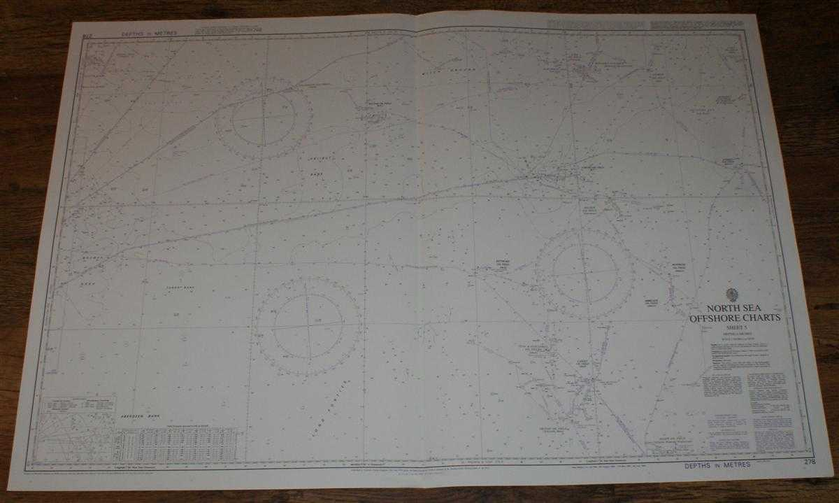 Nautical Chart No. 278 North Sea Offshore Charts - Sheet 5 with Oil & Gas Fields, Admiralty