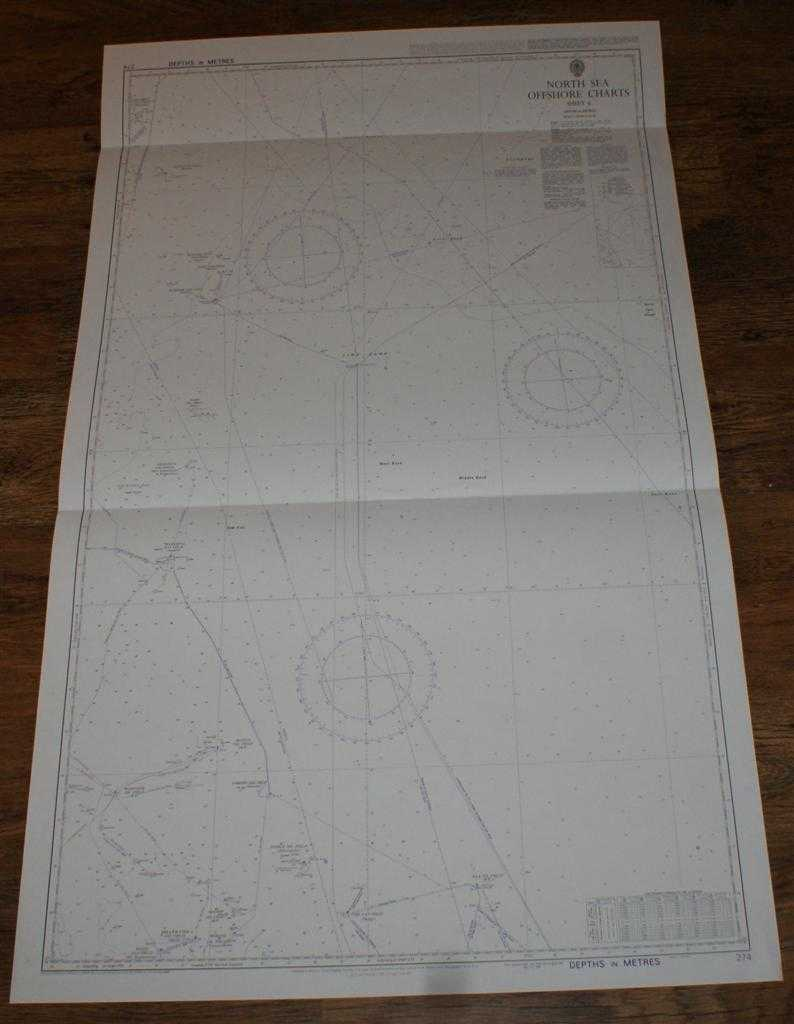 Nautical Chart No. 274 North Sea Offshore Charts - Sheet 6 with Oil & Gas Fields, Admiralty