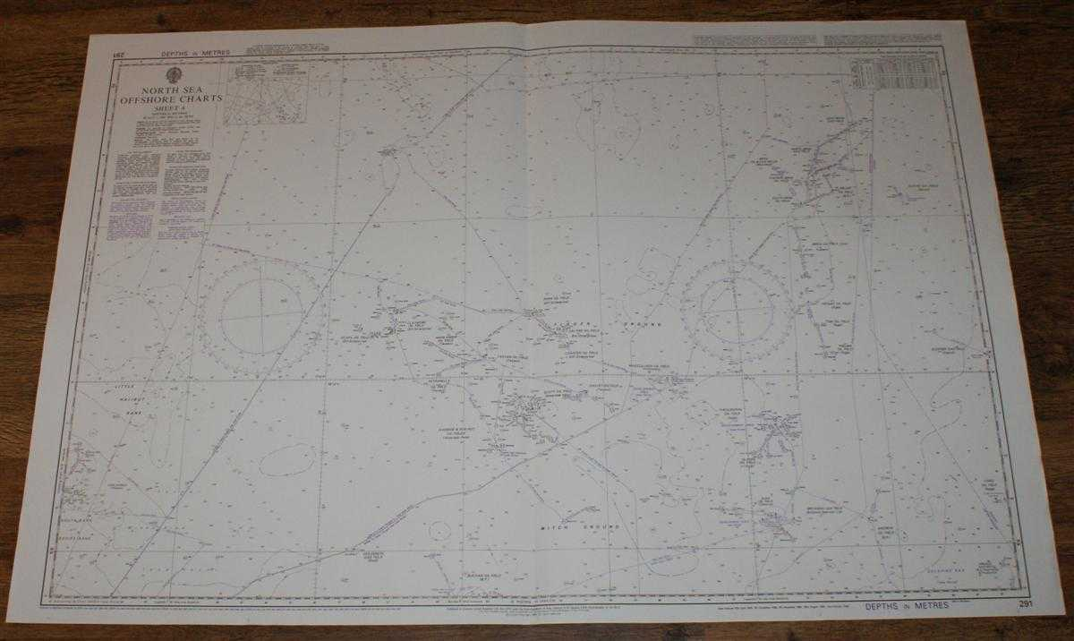 Nautical Chart No. 291 North Sea Offshore Charts - Sheet 4 with Oil & Gas Fields, Admiralty