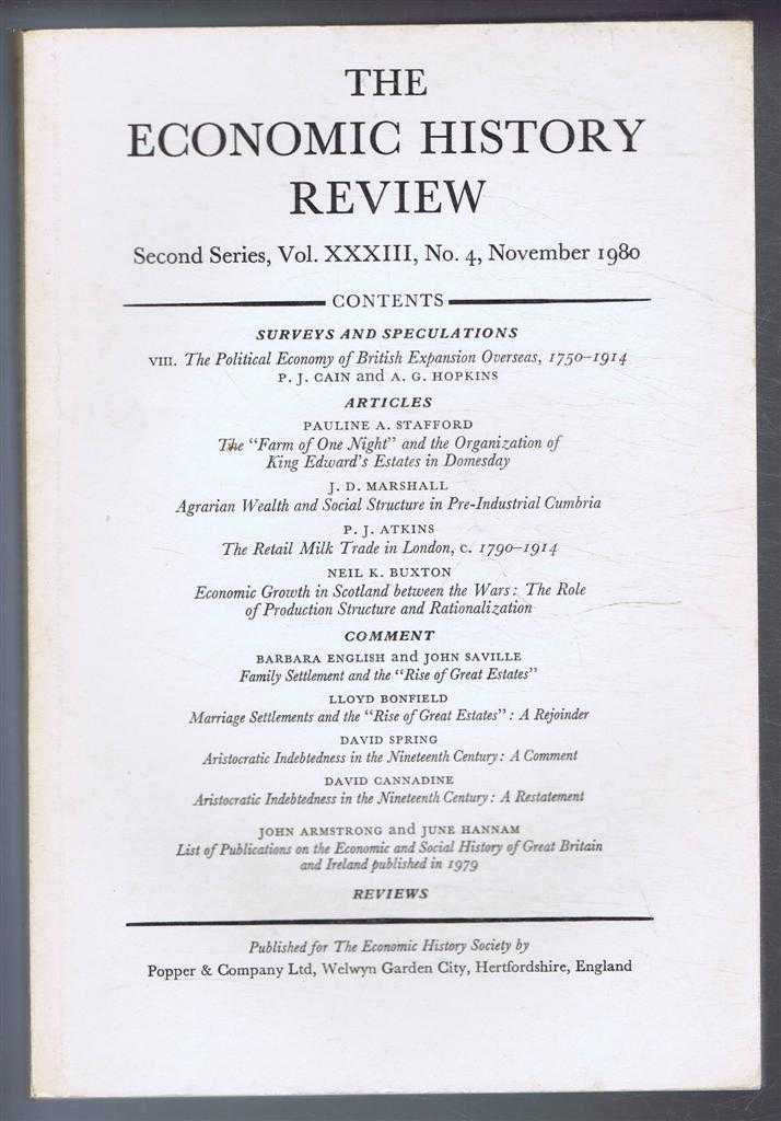 The Economic History Review. Second Series, Volume XXXIII (33), No. 4, November 1980, A G Hopkins & B E Supple (eds)