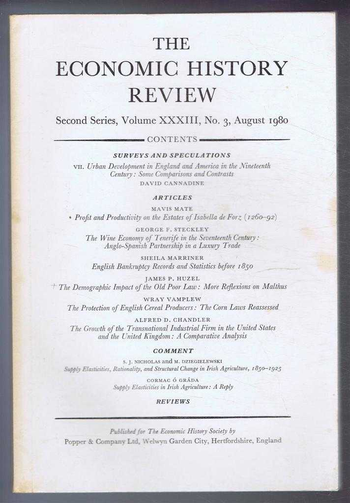 The Economic History Review. Second Series, Volume XXXIII (33), No. 3, August 1980, A G Hopkins & B E Supple (eds)