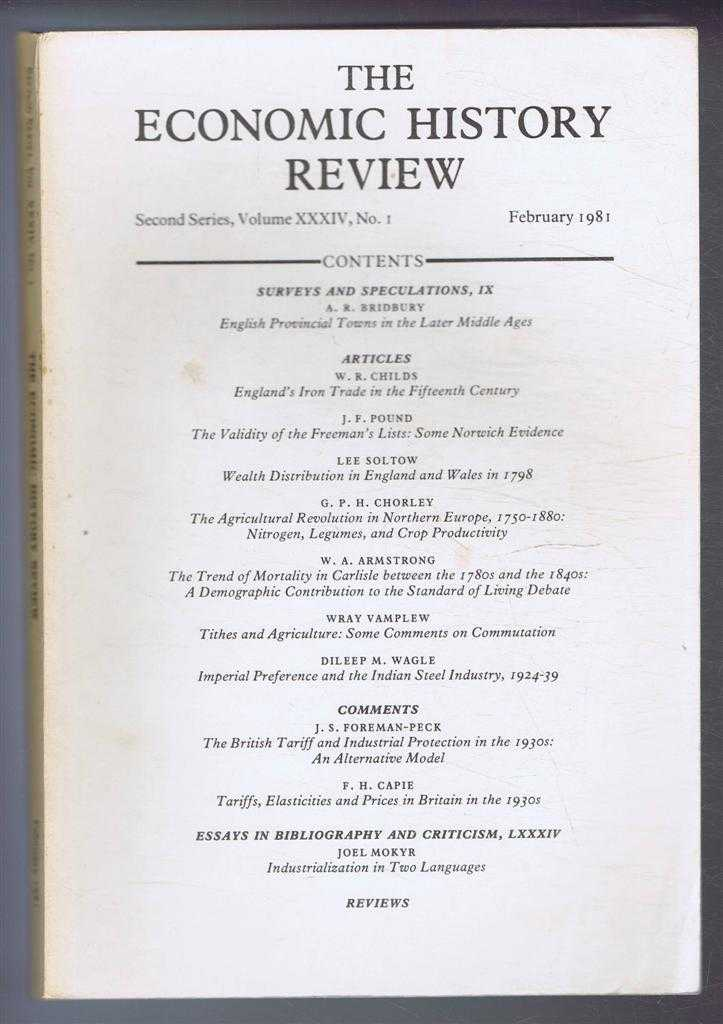 The Economic History Review. Second Series, Volume XXXIV (34), No. 1, February 1981, A G Hopkins & B E Supple (eds)