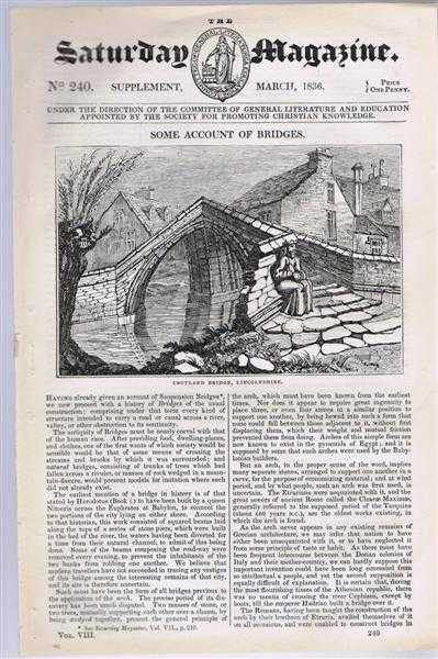 Image for The Saturday Magazine No. 240. Supplement March 1836. Some Account of Bridges