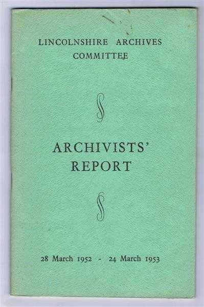 Image for Archivists' Report 28 March 1952 - 24 March 1953
